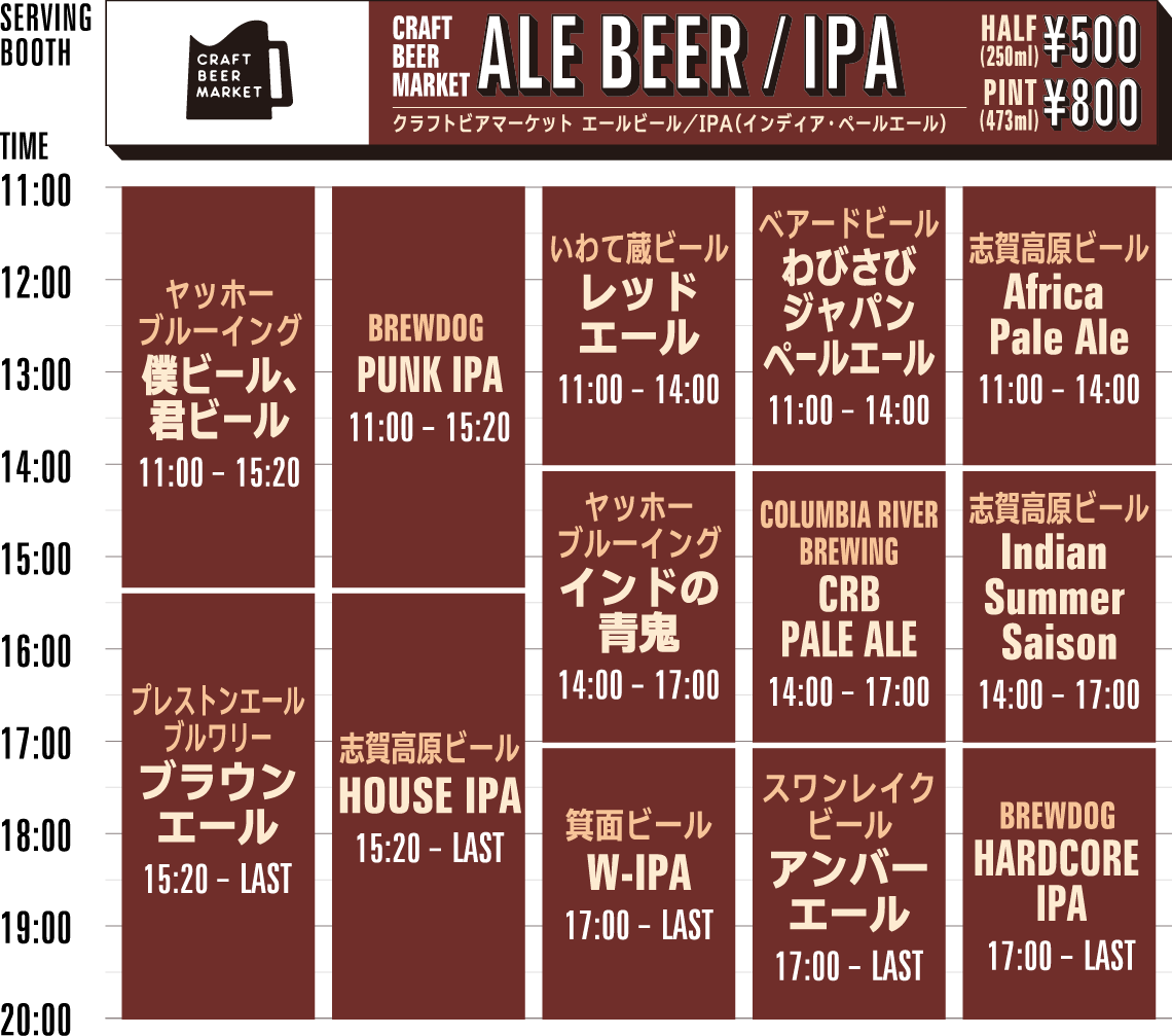 CBM ALE BEER/IPA timetable