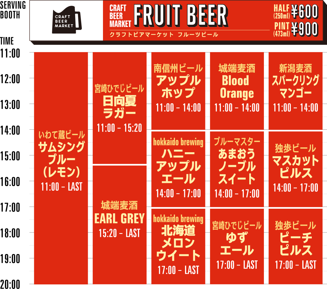 CBM FRUIT BEER timetable