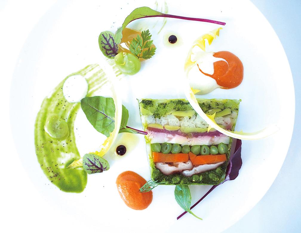 春野菜のテリーヌ  からしと桜えびのピュレ  タケノコとライチのコンディマン